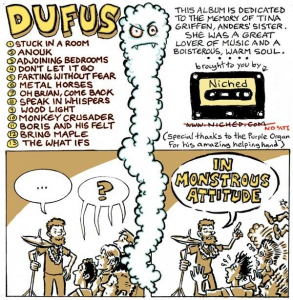 "Dufus ""In Monstrous Attitude"" CD back cover"